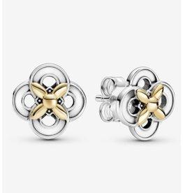 Pandora Pandora Earrings, 299349C00, Two-Tone Flowers,14K Glod