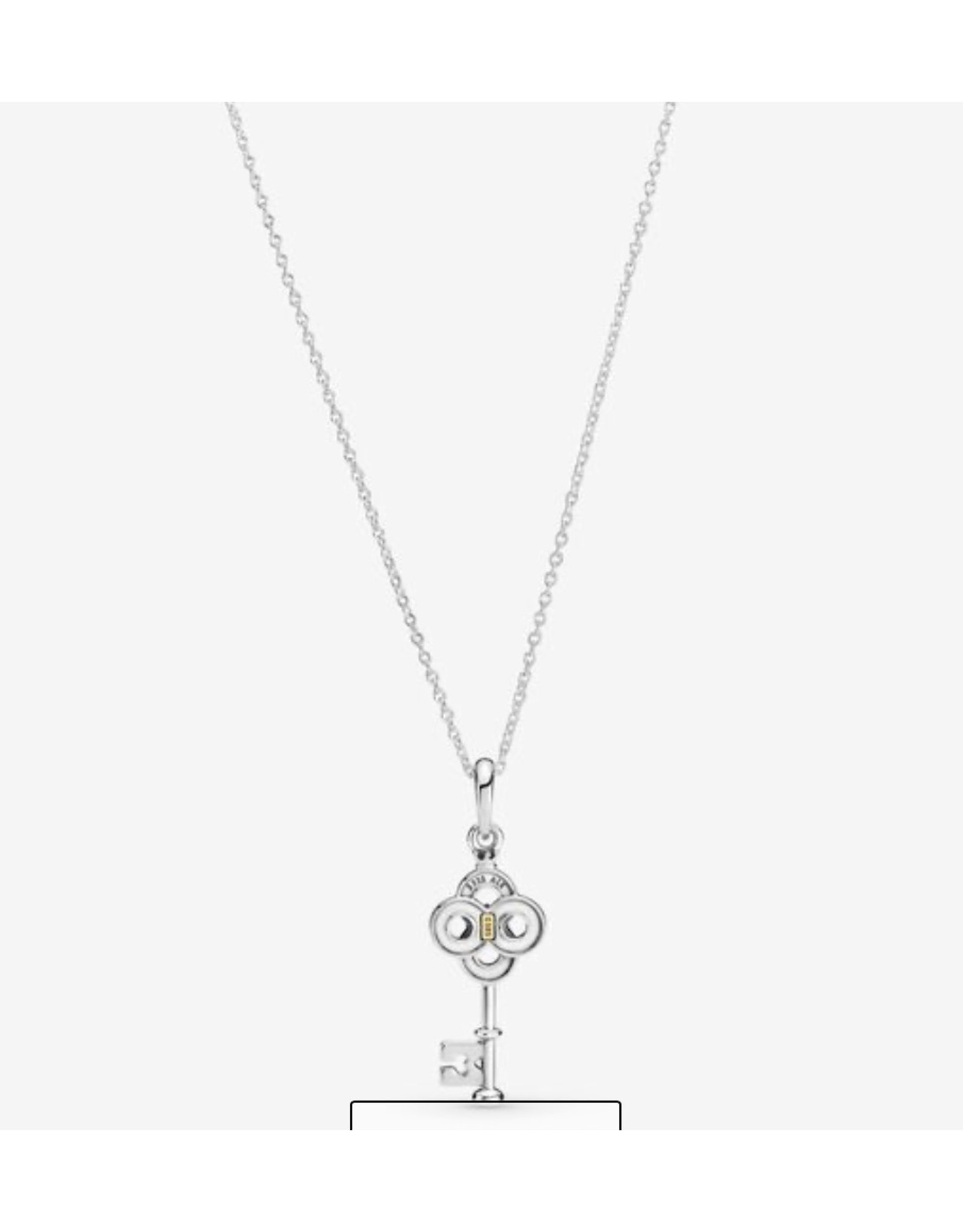 Pandora Pandora Necklace,399339C01-70, Two-Tone Key & Flower, 14K Gold
