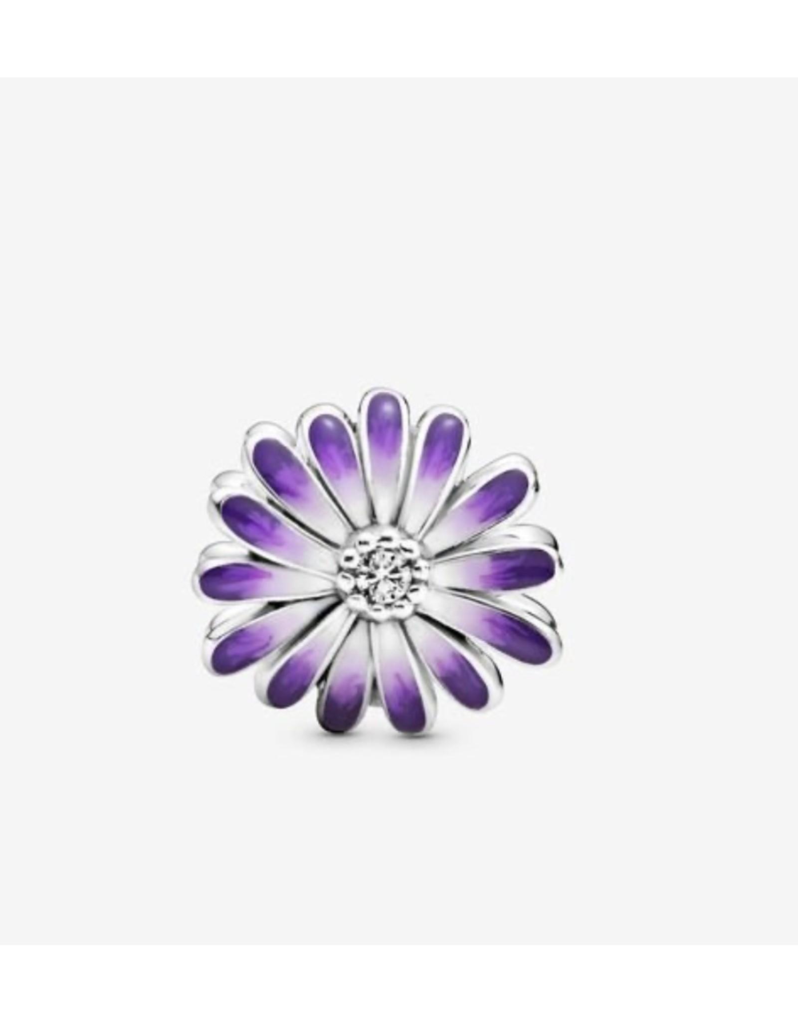 Pandora Pandora Charm, 798775C02, Purple Daisy, Mixed Enamel & Clear CZ
