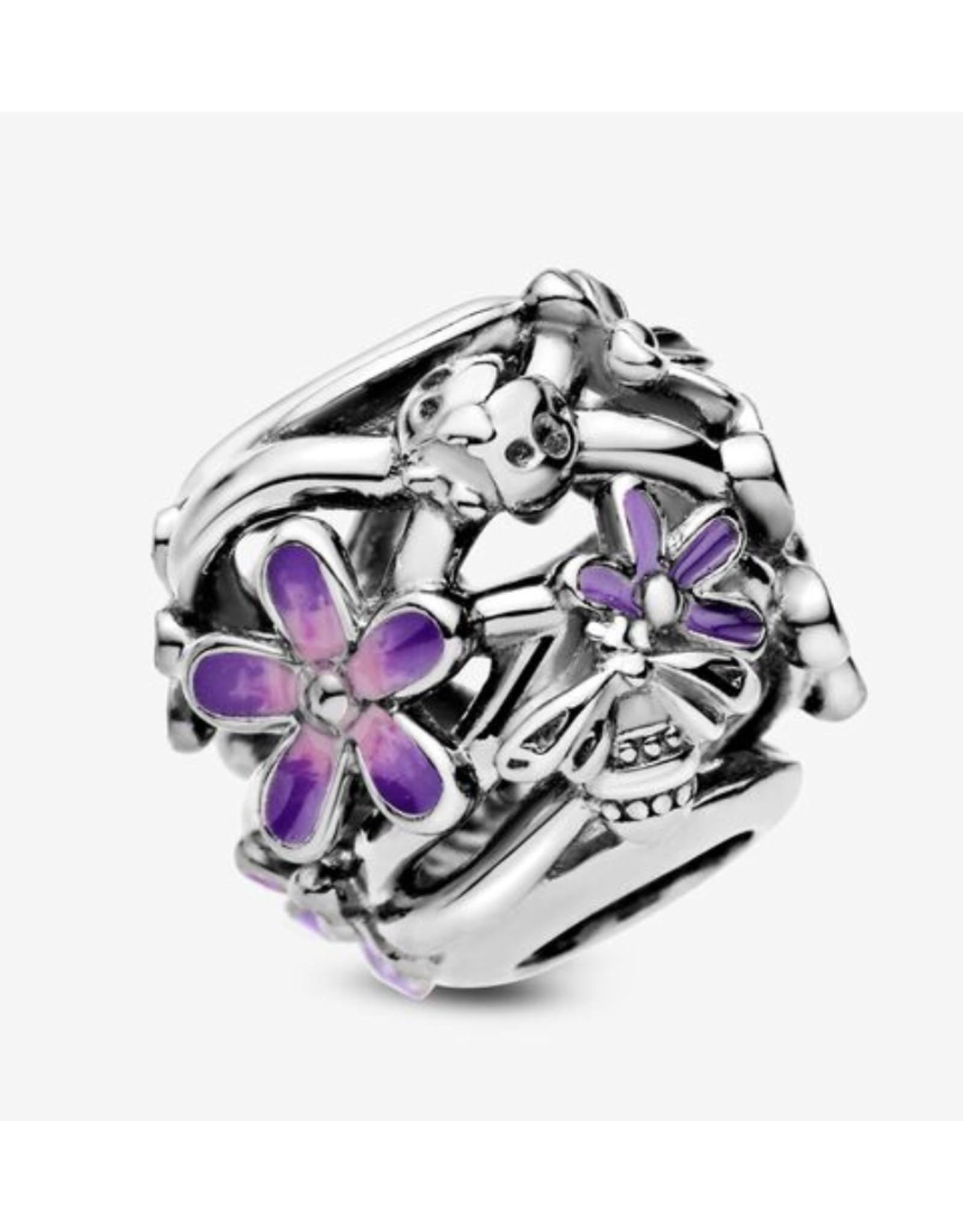 Pandora Pandora Charm,798772C02, Openwork Purple Daisy, Purple & Pink Enamel