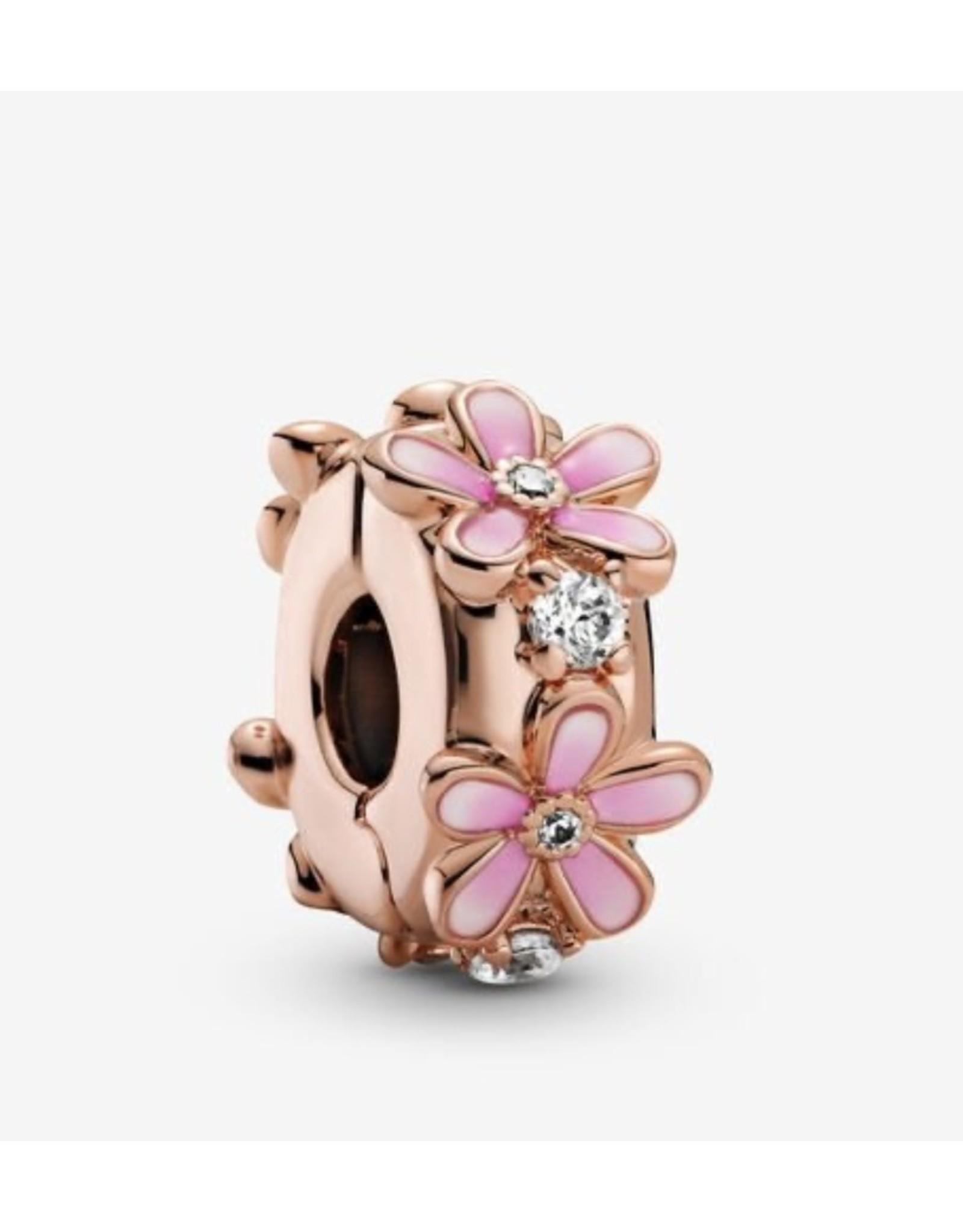 Pandora Pandora Clip, 788809C01, Pink Daisy, Pink Enamel & Clear CZ