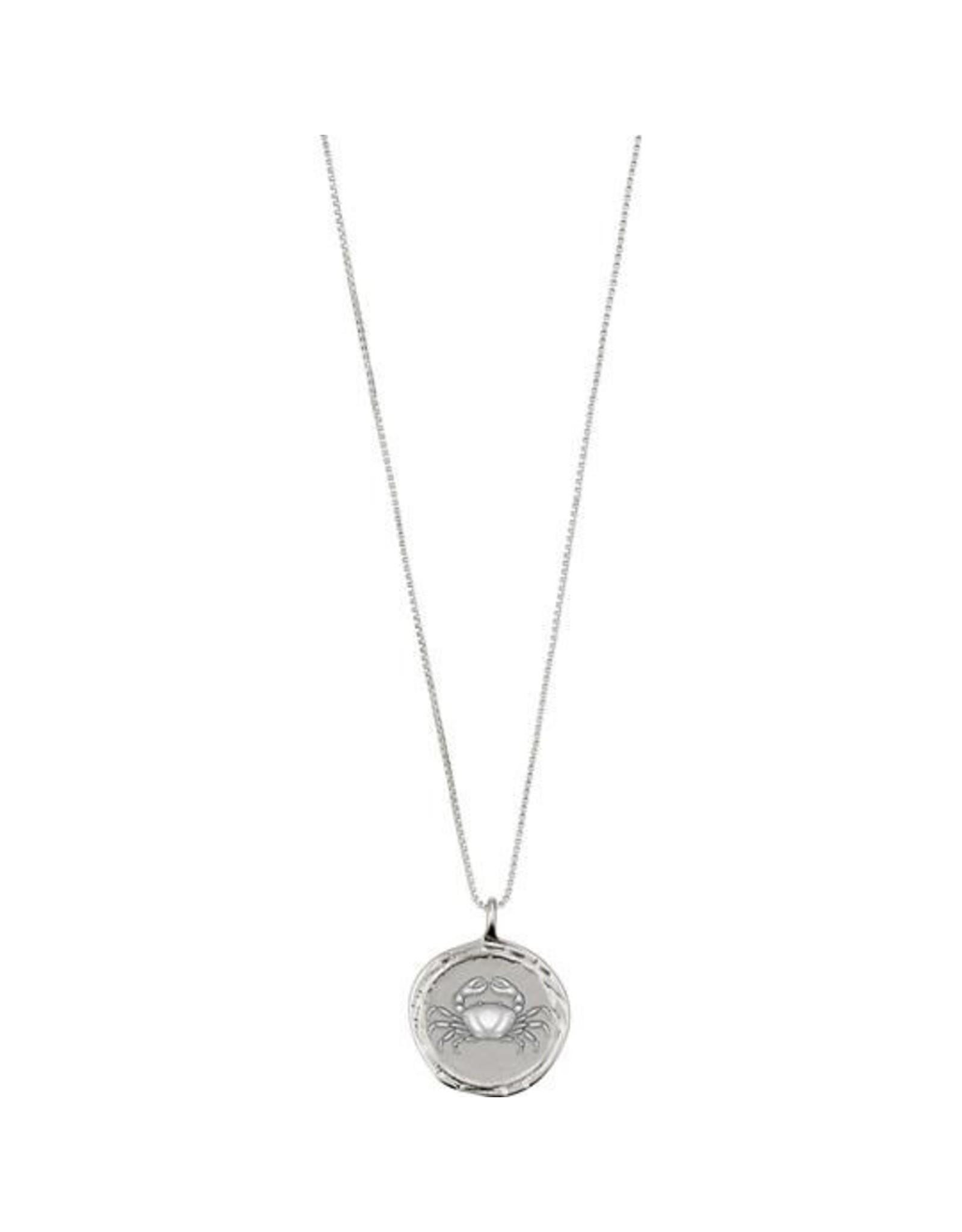 Pilgrim Necklace Cancer Zodiac Sign, Crystal, Silver