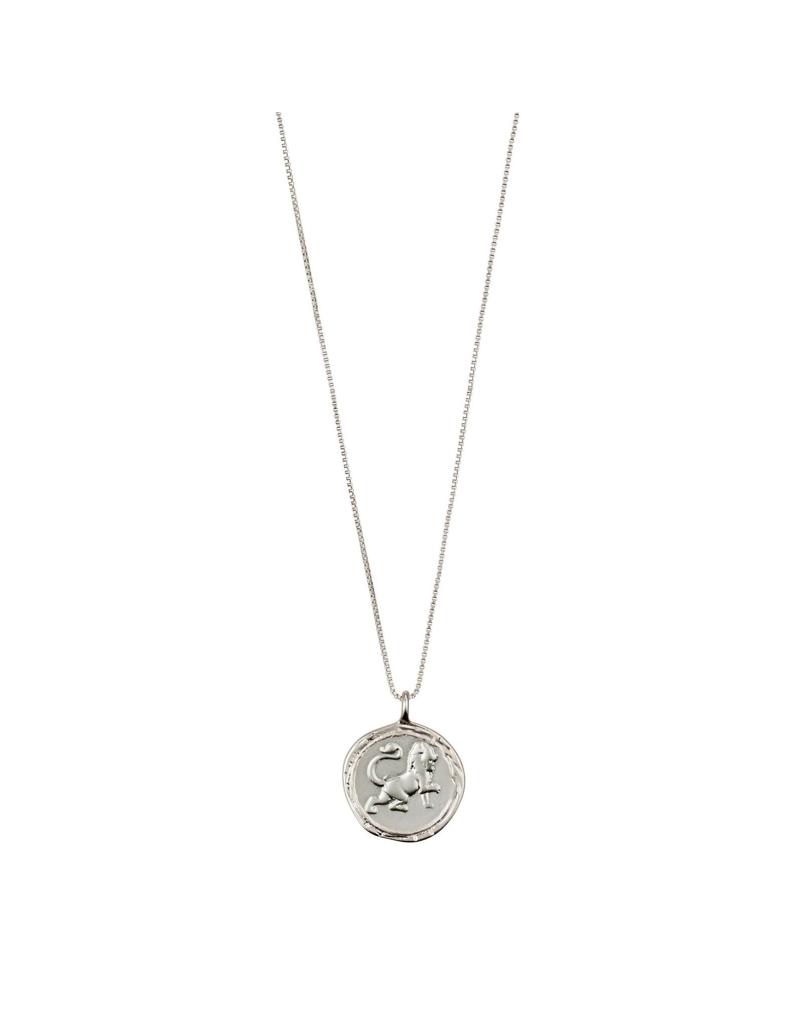 Pilgrim Necklace Leo Zodiac Sign, Crystal, Silver