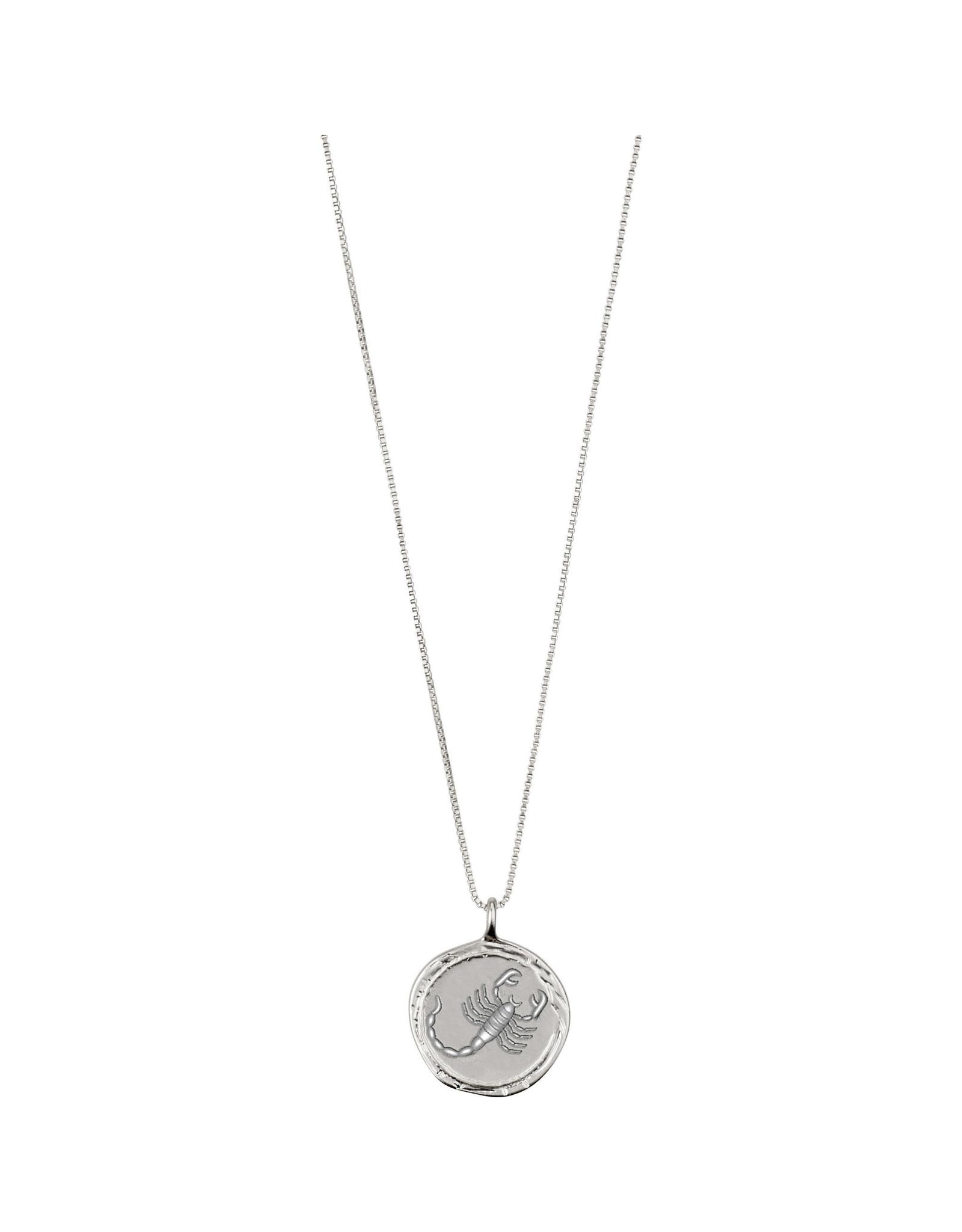 Pilgrim Necklace Scorpio Zodiac Sign, Crystal, Silver