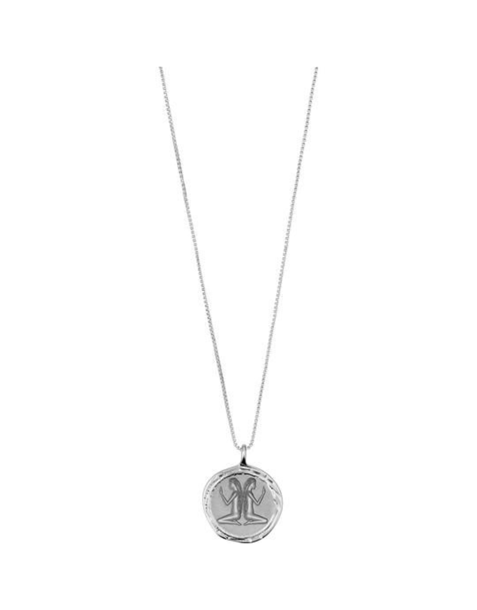 Pilgrim Necklace Gemini Zodiac Sign, Crystal, Silver
