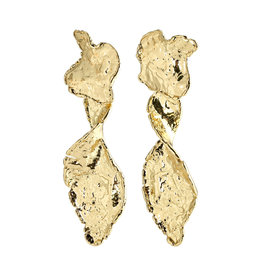 Pilgrim Earrings Compass Statement, Gold Plated