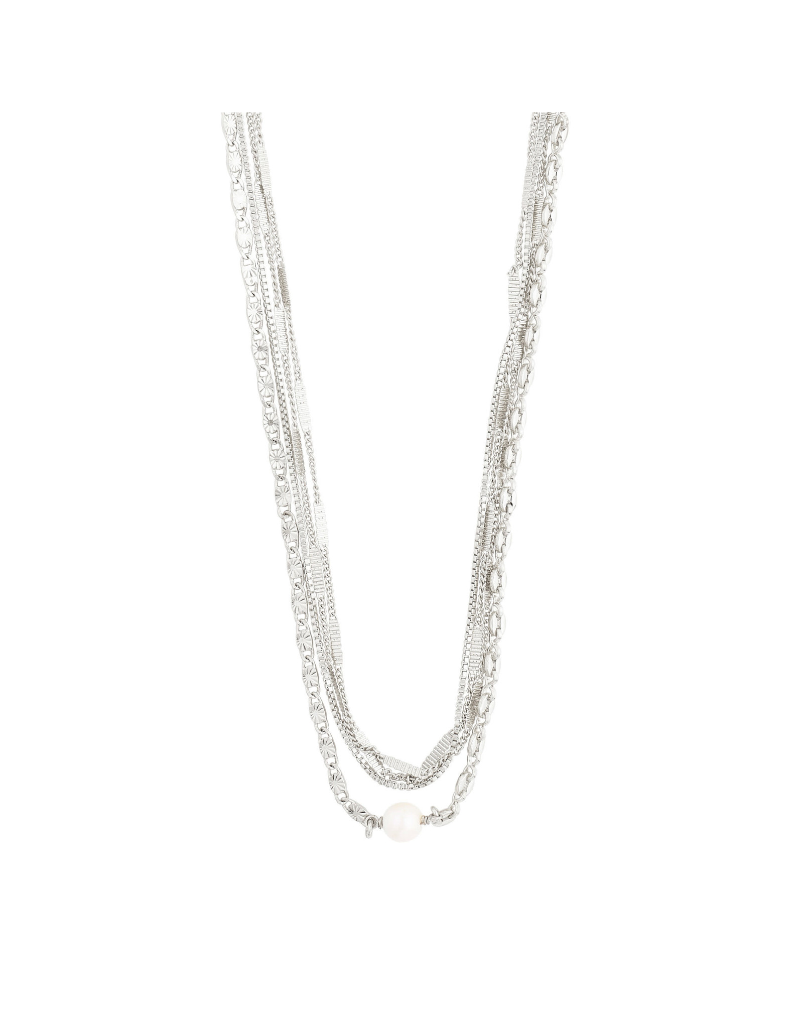 Pilgrim Necklace Katherine Layered 2 In a 1, Silver Plated