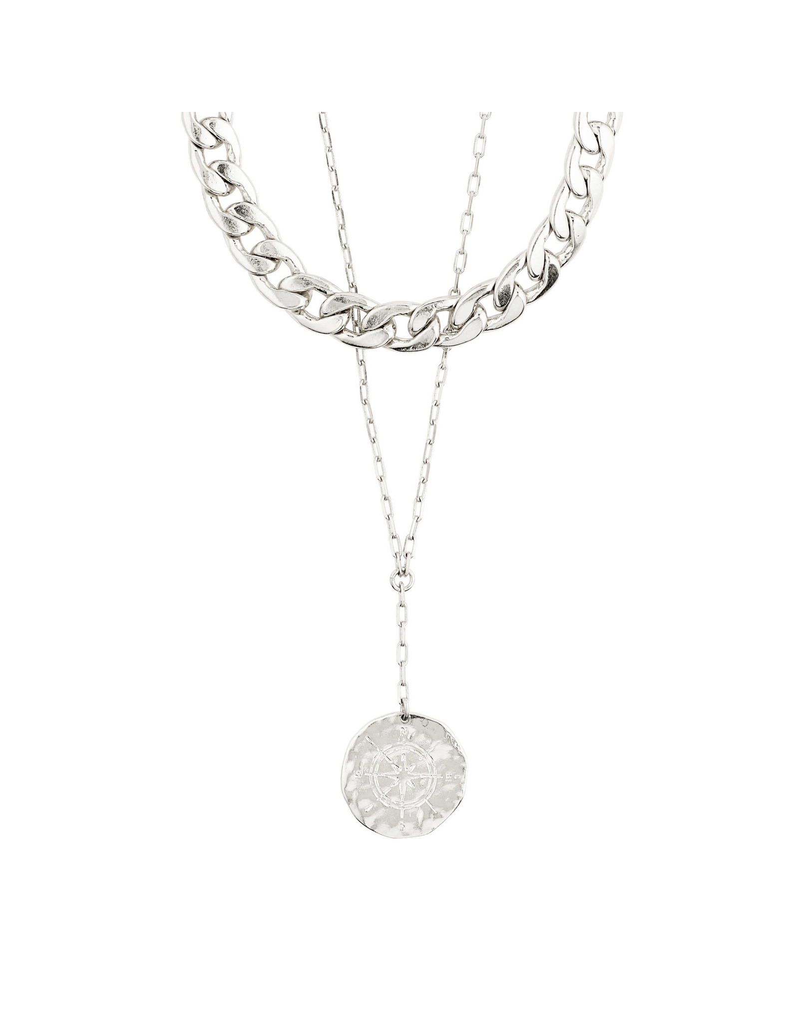 Pilgrim Necklace Compass 2 In 1, Silver Plated