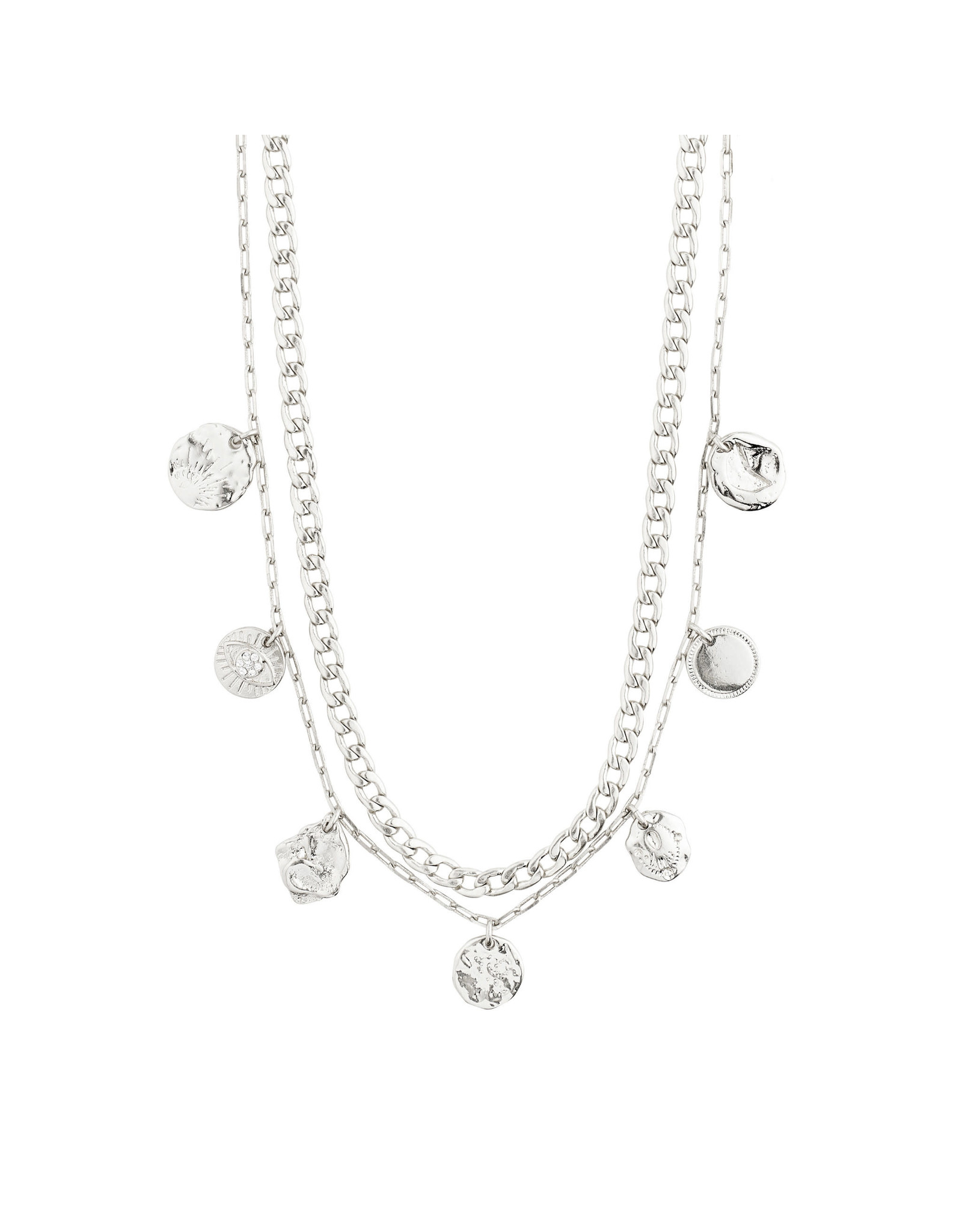 Pilgrim Necklace Poesy 2 In 1, Silver Plated