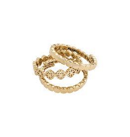 Pilgrim Ring Cherished Set Of 3, Gold Plated