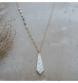 Glee jewelry Avalon Necklace, Silver/Howlite