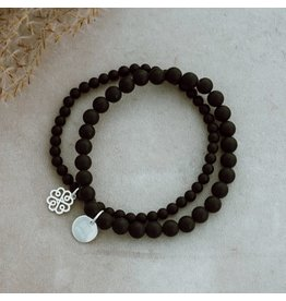 Glee jewelry Stackem Up Bracelet, Sliver/Black Onyx