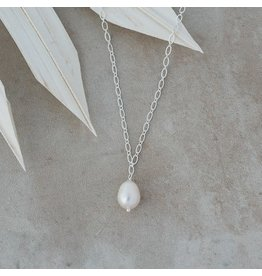 Glee jewelry Veda Necklace, Silver/White Pearl