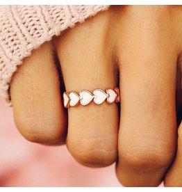 Pura Vida Love Enamel Heart Band Ring, Rose Gold