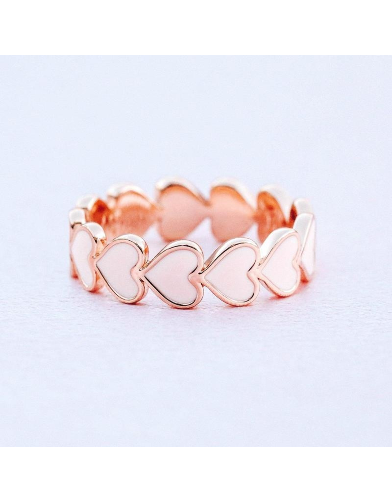 Pura Vida Love Enamel Heart Band Ring, Rose Gold