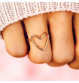 Pura Vida Big Heart Band Ring, Silver