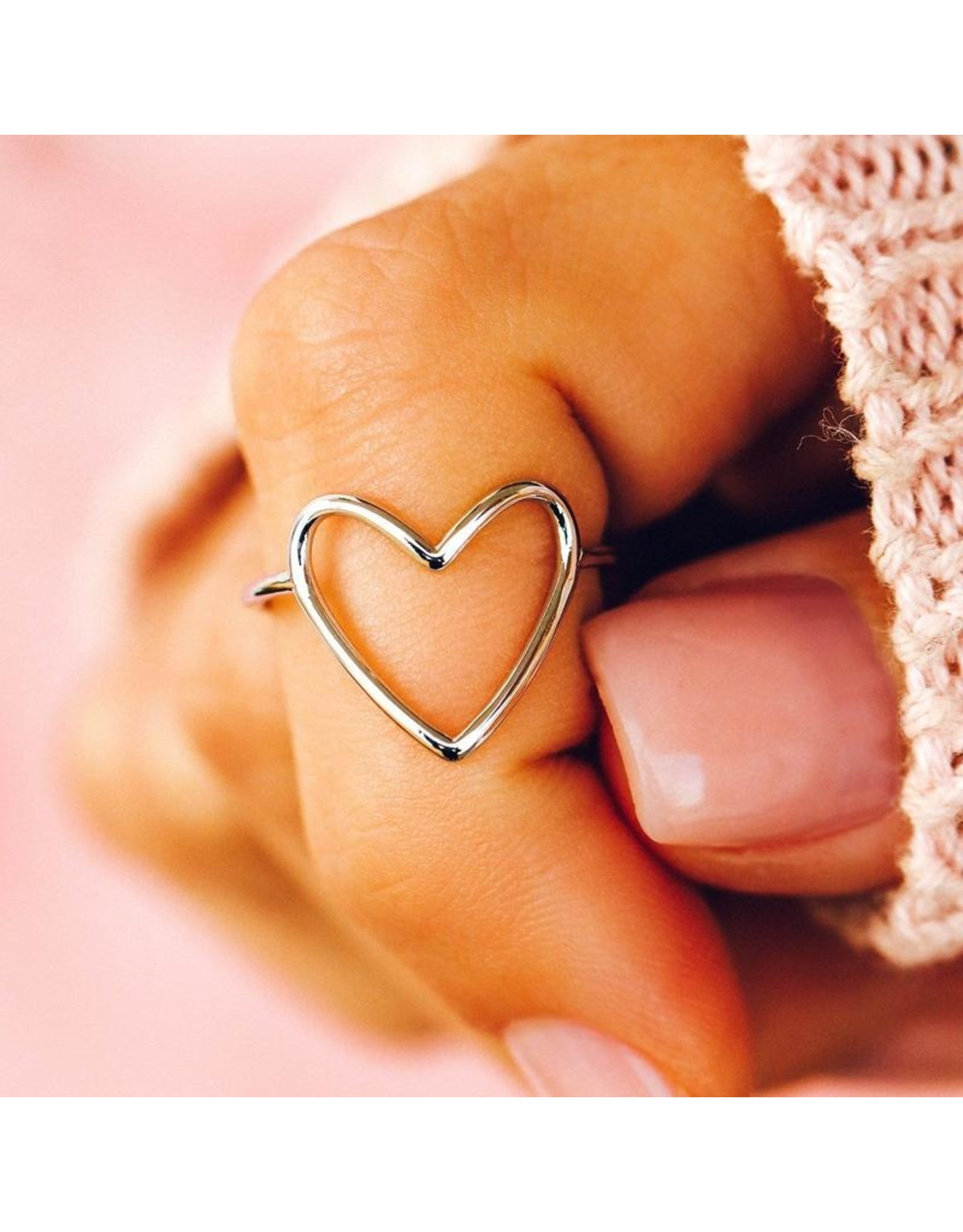 Pura Vida Big Heart Band Ring, Silver Pura Vida