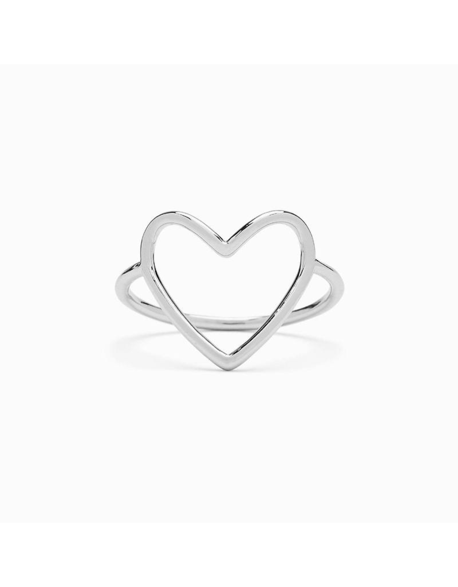 Pura Vida Big Heart Band Ring, Silver