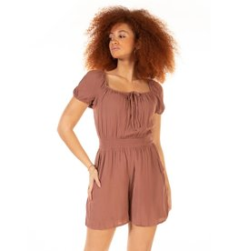 Square Neck Smocked Waist Romper, Mauve