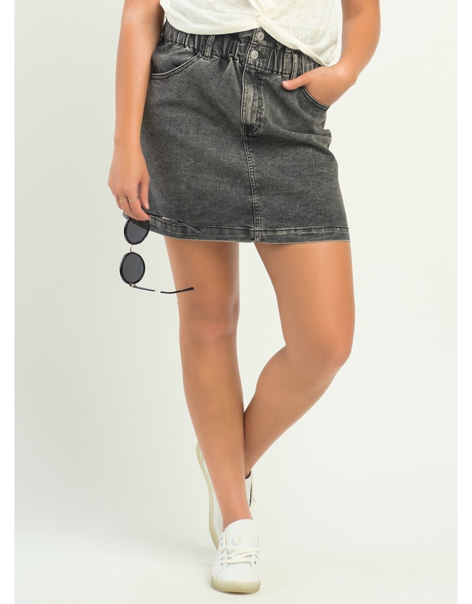 Elastic Paperbag Waist Denim Shirt,Black Wash