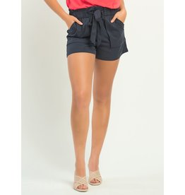 Elastic Waist Self Belted Tencel Short, Indigo