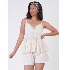 Lace Trim Clip Dot Camisole, Cream