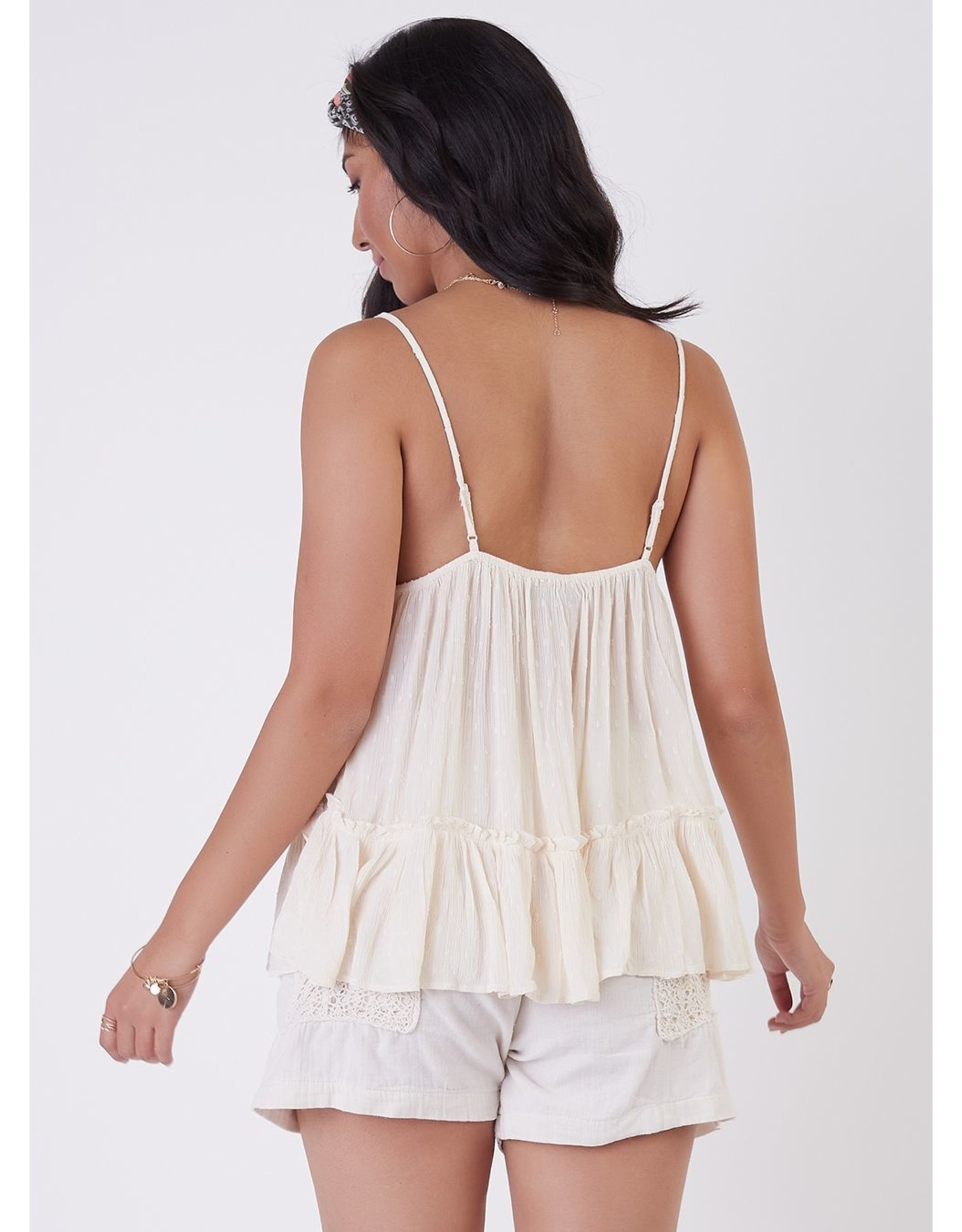 Lace Trim Clip Dot Camisole, Cream