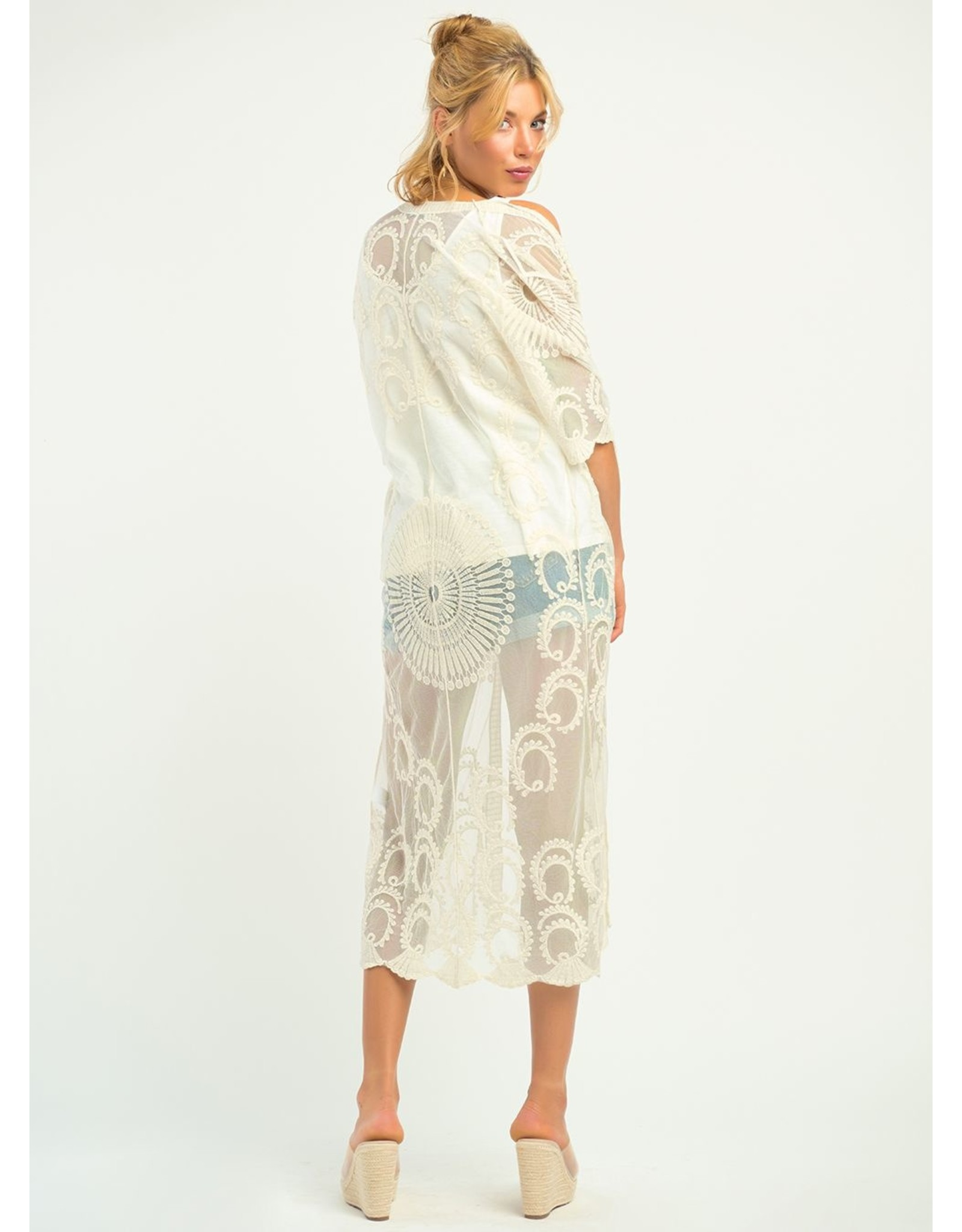 Embroidered Mesh Duster Kimono, Ivory