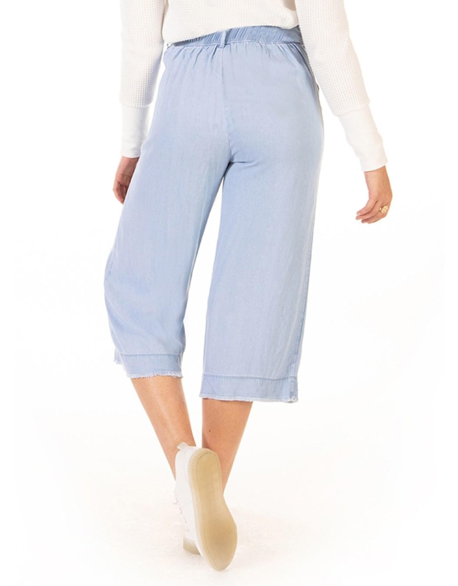 Frayed Hem Wide Leg Belted Pant