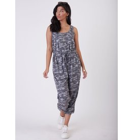 Sleeveless Printed Jumpsuit, Grey Camo