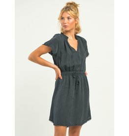 Frayed Hem Elastic Waist Dress, Black Wash