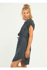 Frayed Hem Elastic Waist Dress, Black Wash