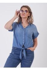 Button Tie Front Tencel Shirt, Med-Blue