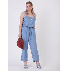Buttoned Drawstring Waist Jumpsuit