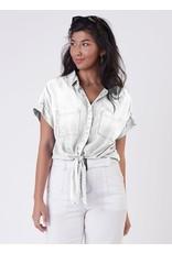 Button Tie Front Tencel Shirt, White