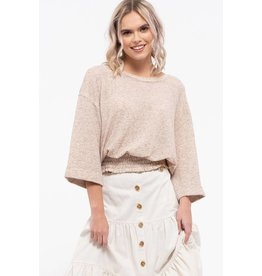 Blu Pepper 3/4 Sleeve Smocked Waist Top, Taupe