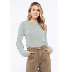 Blu Pepper PomPom Lightweight Sweater, Sage