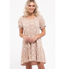 Blu Pepper Textured Swiss Dot Tiered Mini Dress, Khaki