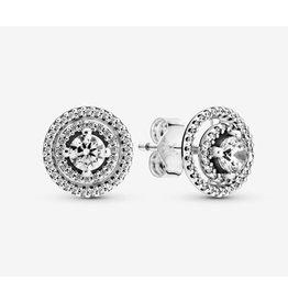Pandora Pandora Earrings,299411C01, Sparkling Double Halo Stud, Clear CZ