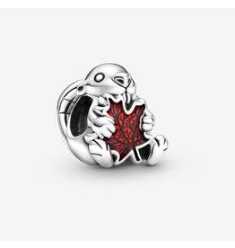 Pandora Pandora Charm,799394C01, Canadian Beaver & Maple Leaf, Red Enamel