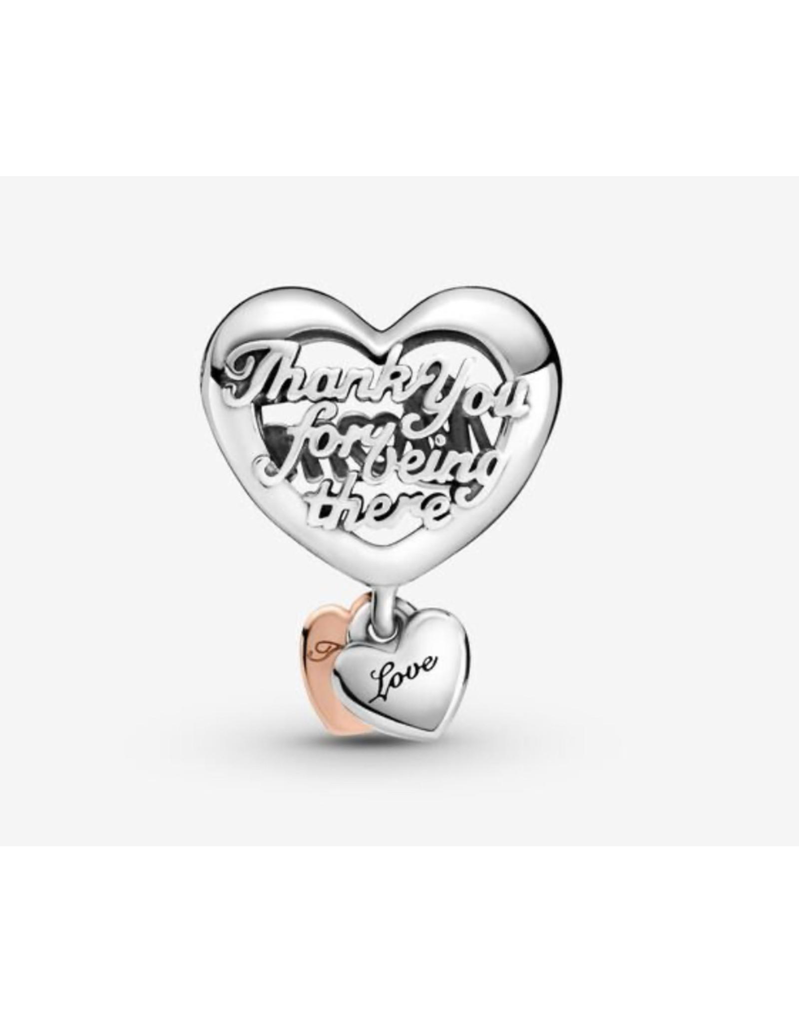 Pandora Pandora Charm,789372C00, Thank You Mom Heart, With Rose Gold