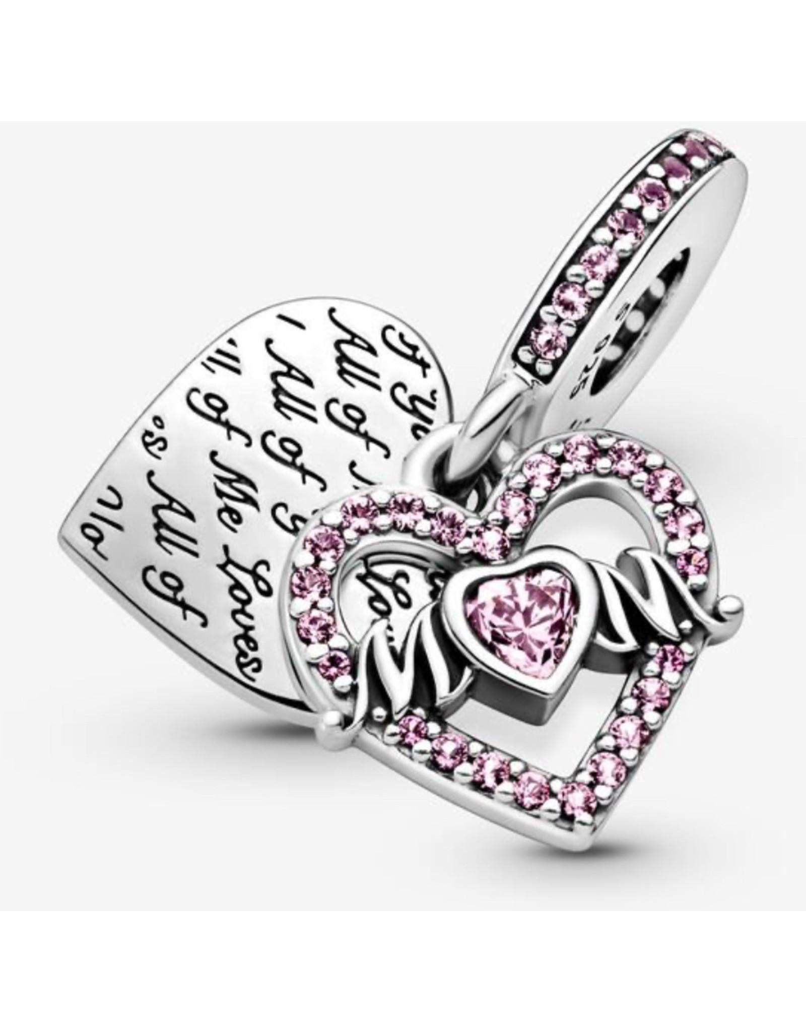 Pandora Pandora Charm,799402C01, Heart&Mom Dangle, Pink CZ&Crystal