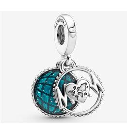 Pandora Pandora Charm,799368C01, Glitter Globe Mom Dangle, Blue Enamel