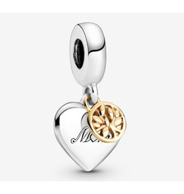 Pandora Pandora Charm,799366C00, Two-tone Family Tree & Heart Dangle, With 14K Gold
