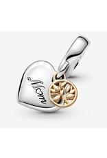 Pandora Pandora Charm,799366C00, Two-tone Family Tree & Heart Dangle, With 14K Gold