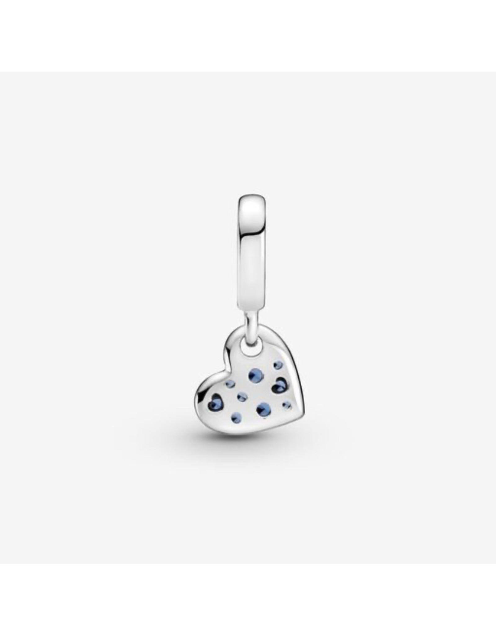 Pandora Pandora Charm,799404C01, Pave Tilted Heart Dangle, Blue Crystal