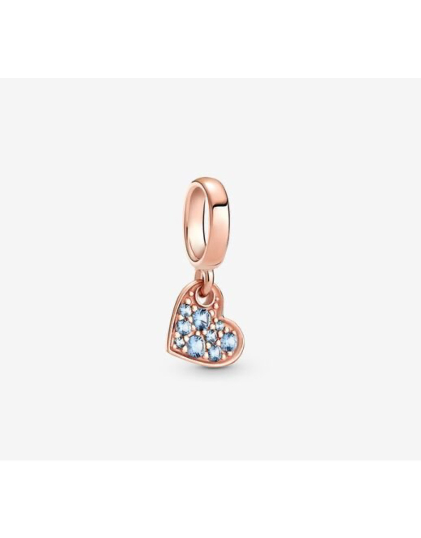 Pandora Pandora Charm,789404C01, Pave Tilted Heart Dangle, Blue Crystals, Rose Gold