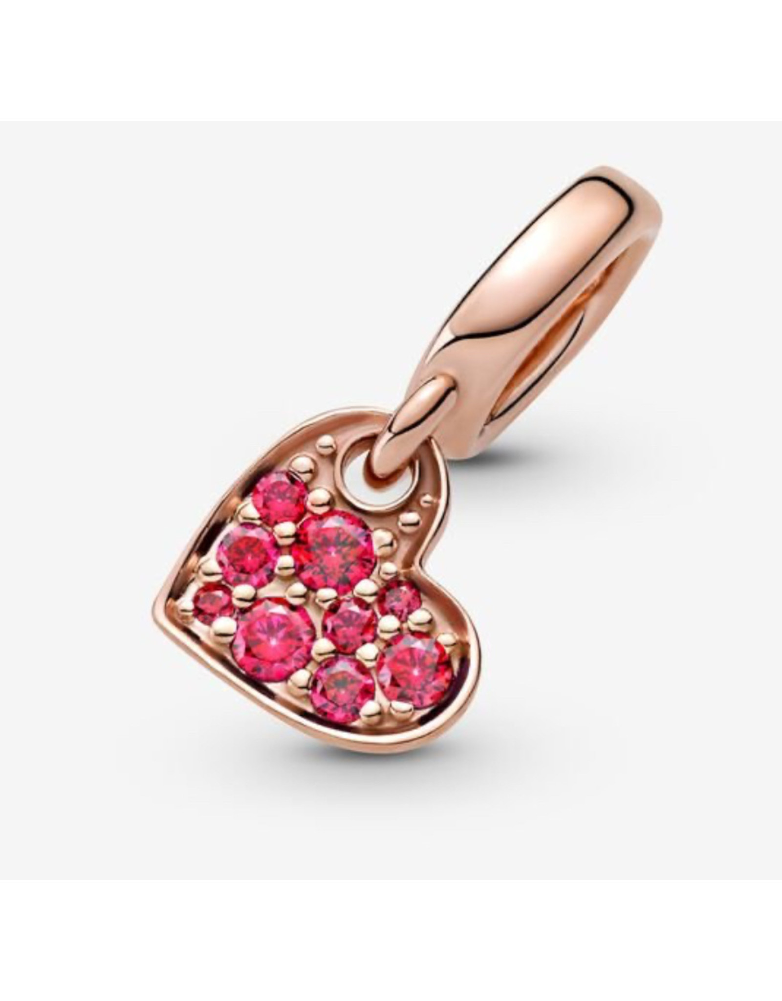 Pandora Pandora Charm,789404C02, Pave Tilted Heart Dangle, Red CZ, Rose Gold