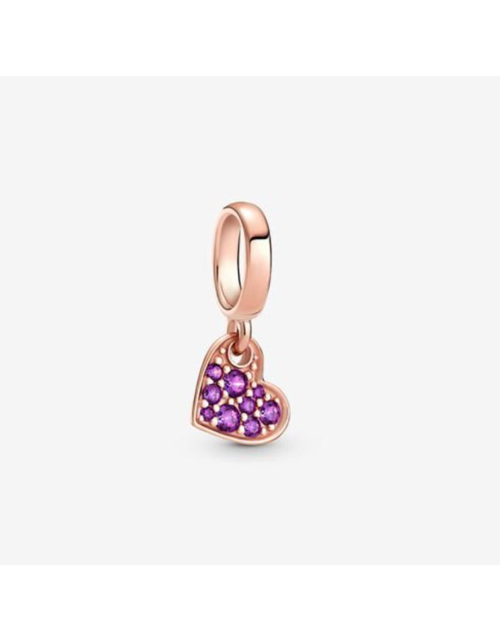 Pandora Pandora Charm,789404C03, Pave Tilted Heart Dangle, Purple Crystal