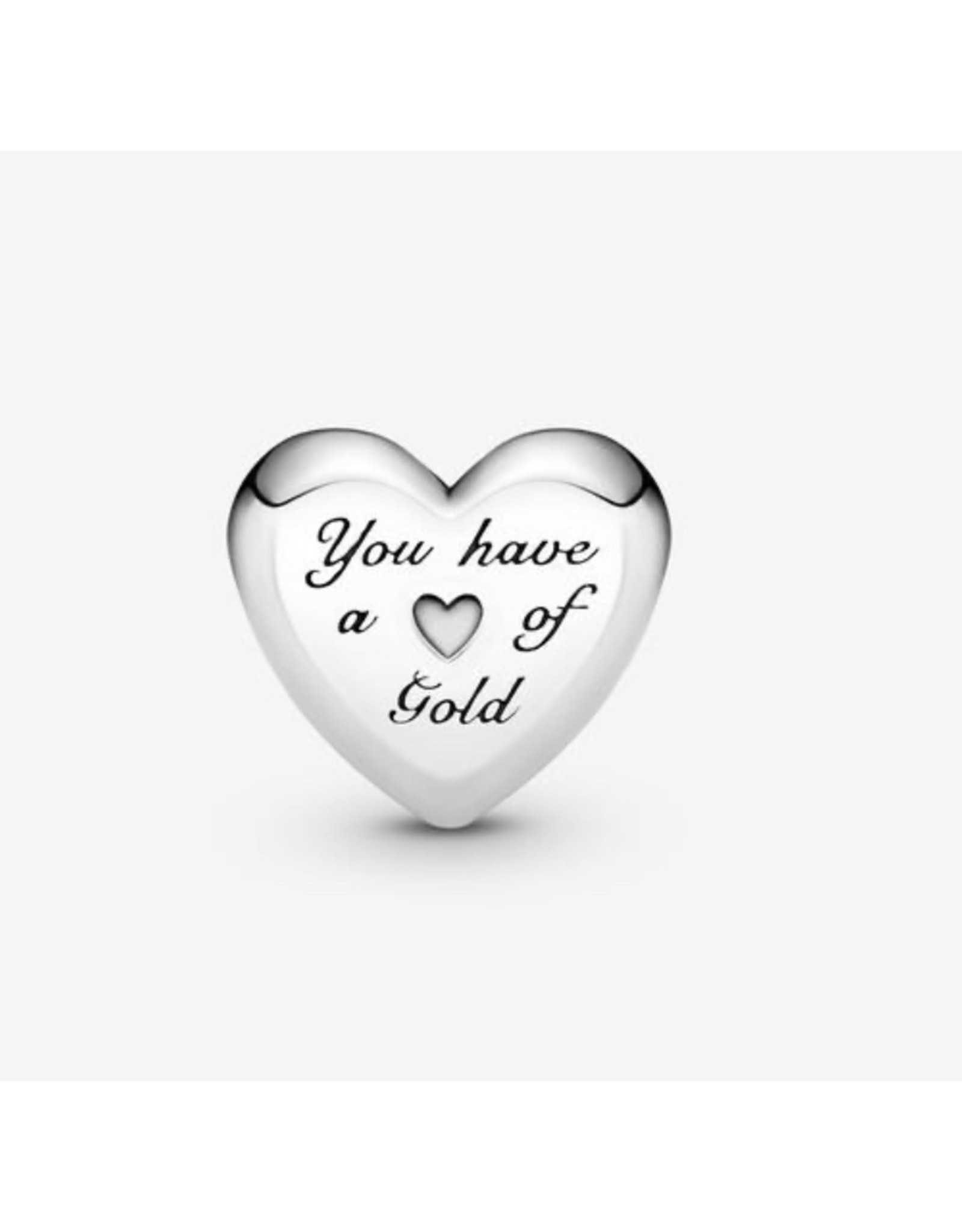 Pandora Pandora Charm,799415C00, Domed Golden Heart, With 14K Gold